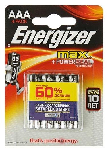 Батарейка алкалиновая Energizer Max +powerseal, Aaa, Lr03-4bl, 1.5в, блистер, 4 шт.  Energizer