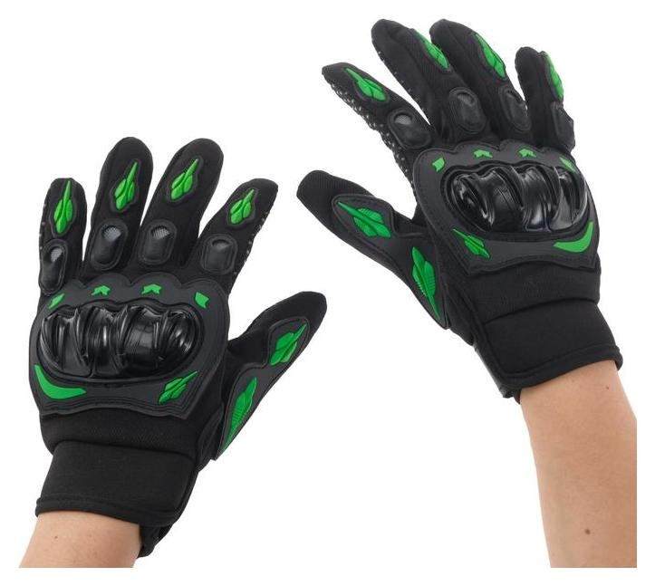 Перчатки для езды на мототехнике, с защитными вставками, пара, размер XL, черно-зеленый  NNB