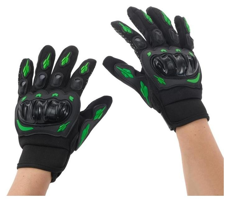 Перчатки для езды на мототехнике, с защитными вставками, пара, размер L, черно-зеленый  NNB