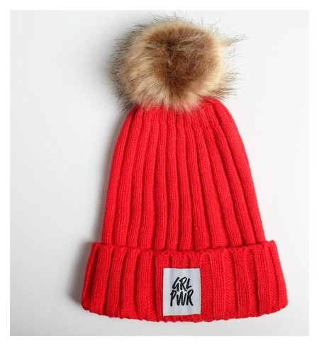 """Женская шапка с помпоном """"GRL PWR""""  Beauty fox"""
