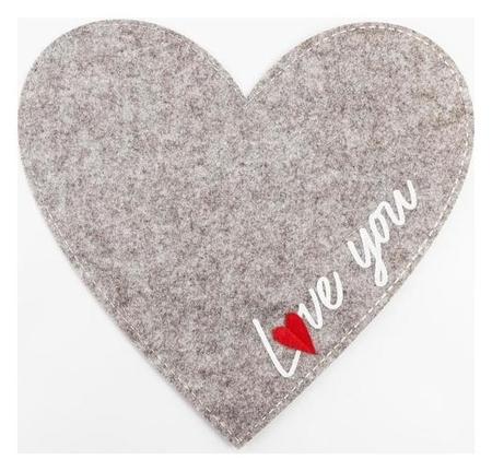 "Салфетка декоративная ""Love You"" 40 х 37 см, 100% п/э, фетр  Доляна"