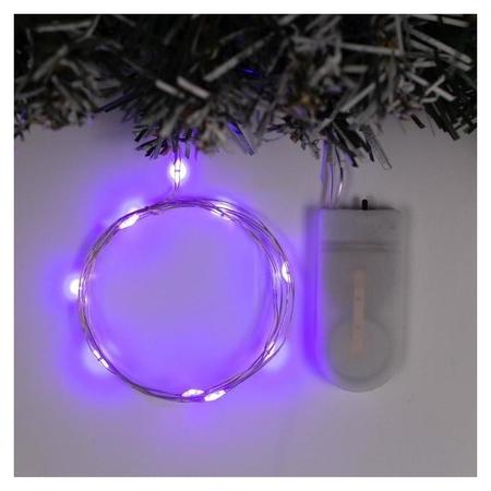 """Гирлянда """"Нить"""" 1 м роса, Ip20, серебристая нить, 10 Led, свечение фиолетовое, фиксинг, 2 х Cr2032  LuazON"""