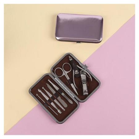 Набор маникюрный «Metallic», 8 предметов, цвет розовый  NNB