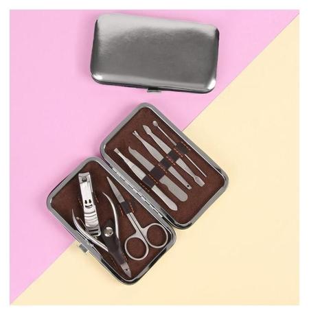 Набор маникюрный «Metallic», 8 предметов, цвет серебристый  NNB