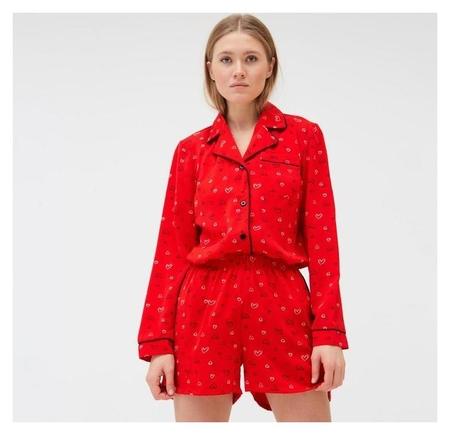 Пижама женская (Рубашка, шорты) Minaku: Light Touch цвет красный, р-р 50  Minaku