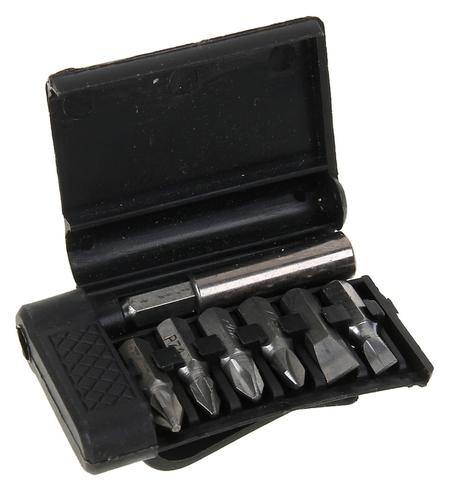 Набор бит Sparta, 7 шт, магнитный адаптер для бит, сталь 45х, в пластиковом боксе  Sparta