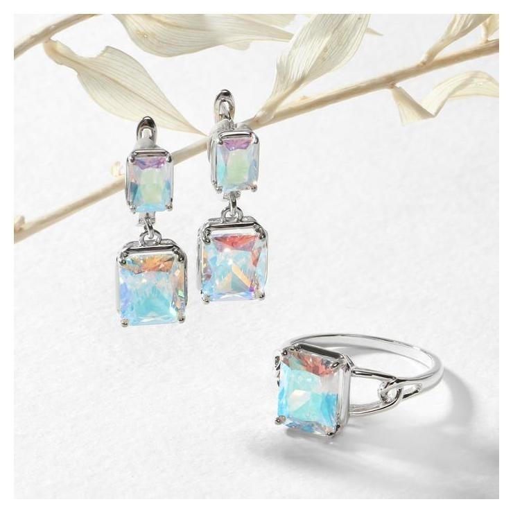 Гарнитур 2 предмета: серьги, кольцо, торжество Фианит родирование, цвет радужный, 17,5 р-р NNB