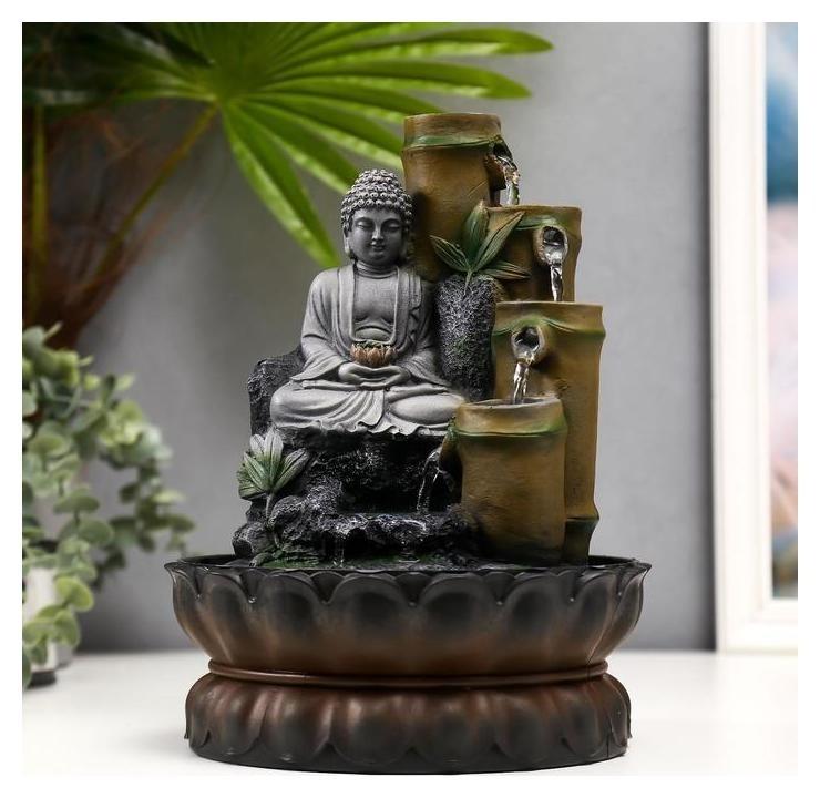 Фонтан настольный от сети Серый будда и фонтан из бамбука 28х20,5х20,5 см NNB