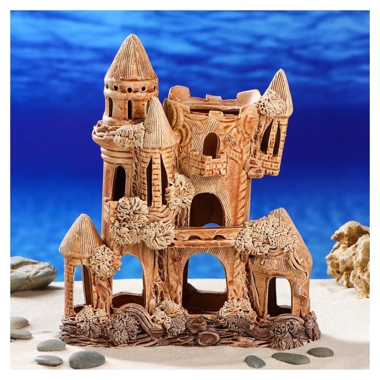 """Декорация для аквариума """"Замок квадратный"""", 11 х 22 х 27 см  Керамика ручной работы"""