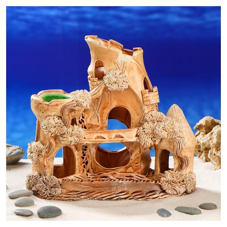 Декорация для аквариума Замок сатурн, 10 х 23 х 21 см Керамика ручной работы