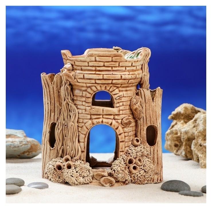 Декорация для аквариума Замок 10х16х15 см Керамика ручной работы