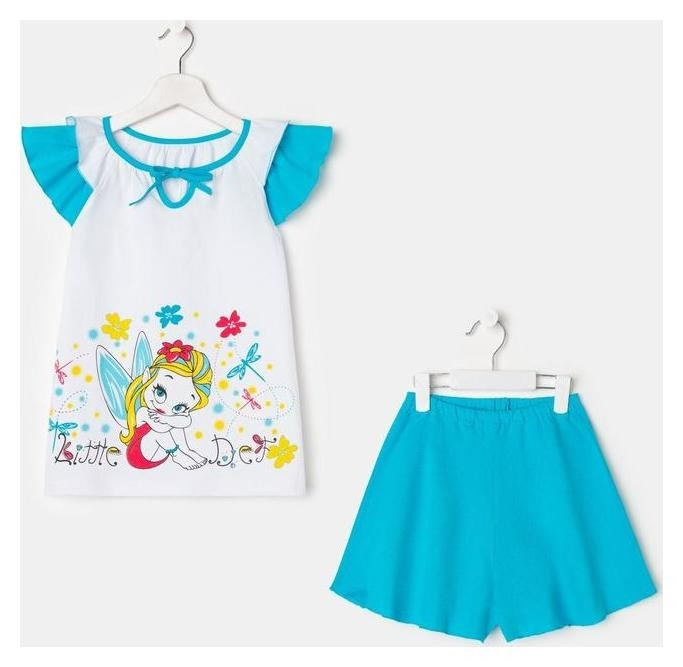 Пижама для девочки, цвет белый/голубой, рост 128 см Luneva