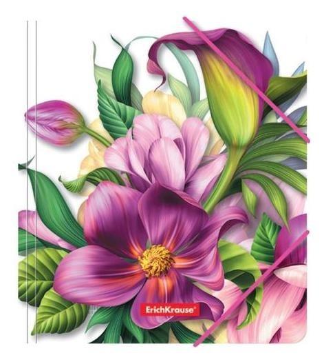 Папка на резинке Erichkrause Tropical Flowers а5+, 5 мм, 550 мкм, для тетрадей, с рисунком Erich krause