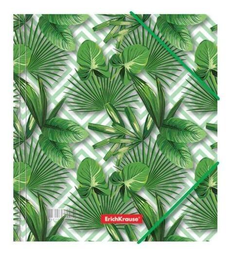 Папка на резинке Erichkrause Tropical Leaves а5+, 5 мм, 550 мкм, для тетрадей, с рисунком Erich krause