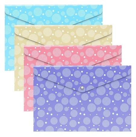 "Папка-конверт на кнопке А4 Erichkrause ""Pastel Dots"", полупрозрачная, 180 мкм, с рисунком  Erich krause"