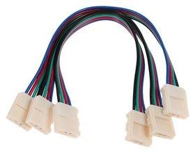 Соед. кабель Ecola Led, с двумя 4-х конт.,разъемами, 10 мм, 15 см. уп. 3 шт.  Ecola