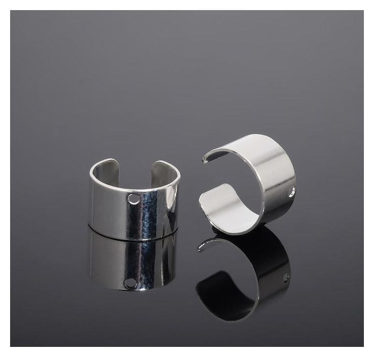 Основы для каффов 10*6мм с отверстием 1мм (Пара), цвет серебро  NNB