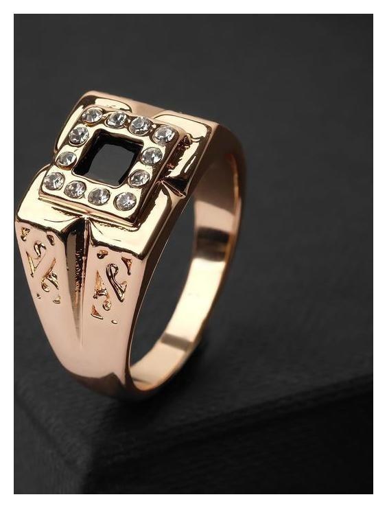 Кольцо мужское Перстень четыре лепестка, цвет бело-чёрный в золоте, размер 21 NNB