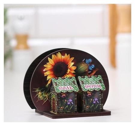Набор для специй с салфетницей Подсолнухи с бабочкой, 13х10х10 см NNB
