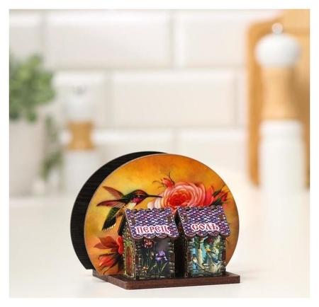 Набор для специй с салфетницей Колибри на цветке, 13х10х10 см NNB