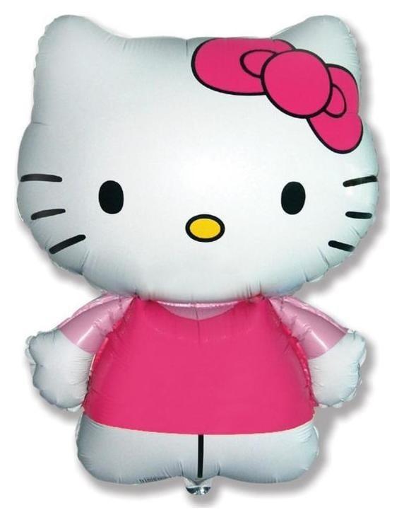 """Шар фольгированный 26""""фигура""""hello Kitty. котенок с бантиком"""" розовый, 1шт. в упак.  Flexmetal"""