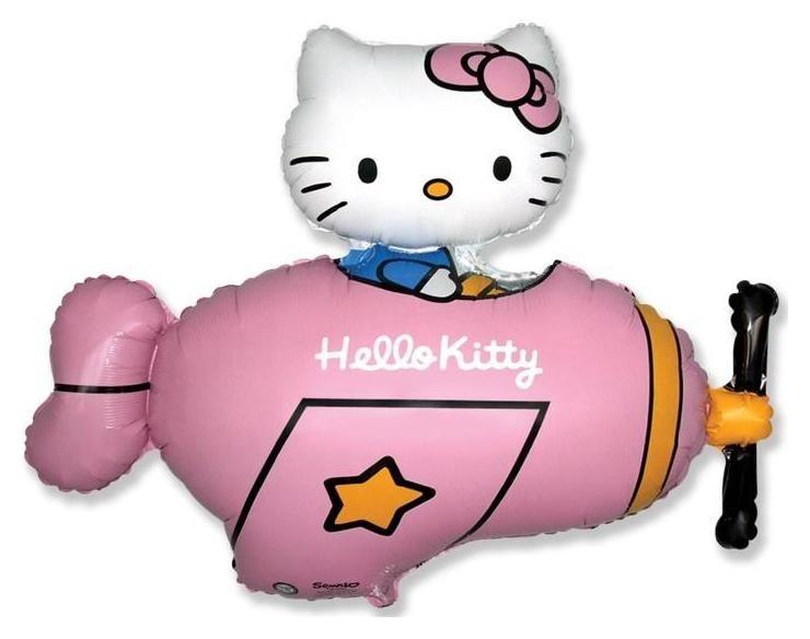 """Шар фольгированный 36""""фигура""""hello Kitty. котенок в самолете"""" розовый, 1шт. в упак.  Flexmetal"""