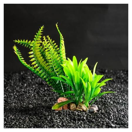 Растение искусственное аквариумное на подставке под камень, 17 х 14 х 16 см  КНР