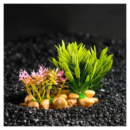 Растение искусственное аквариумное на подставке под камень, 14 х 11 х 7 см  КНР
