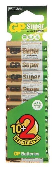 Батарейка алкалиновая GP Super, Aaa, Lr03-12bl, 1.5в, блистер, 10+2 шт.  GР
