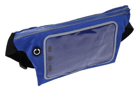 Спортивная сумка чехол на пояс Luazon, управление телефоном, отсек на молнии, синяя  LuazON