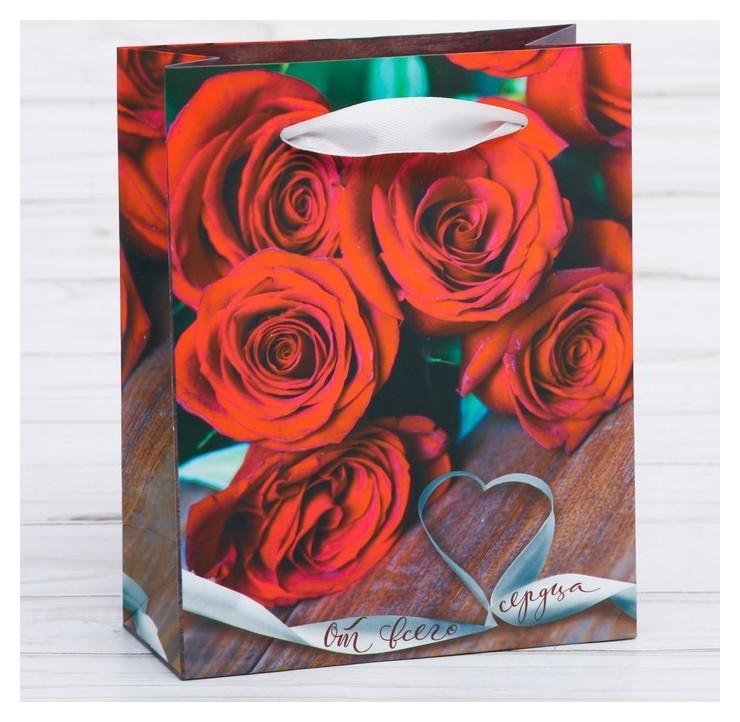 Пакет ламинированный вертикальный «От всего сердца», ML 23 × 27 × 8 см  Дарите счастье