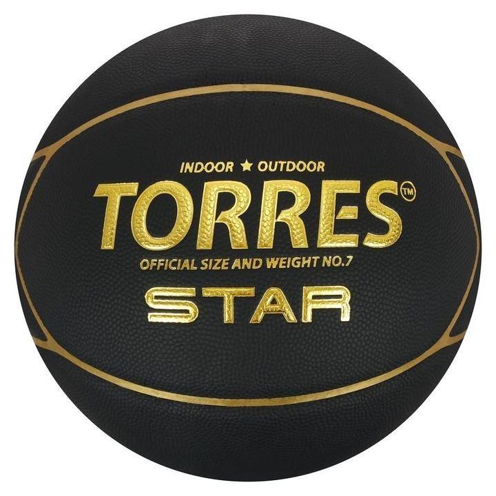 "Мяч баск. ""Torres Star"" арт.b32317, р.7, 7 панел.,пу-композит, нейлон. корд, бут.кам., черно  Torres"