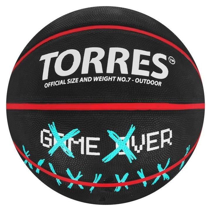"Мяч баск. ""Torres Game Over"" B02217, р.7, резина, нейлон. корд, бут. кам., черный  Torres"