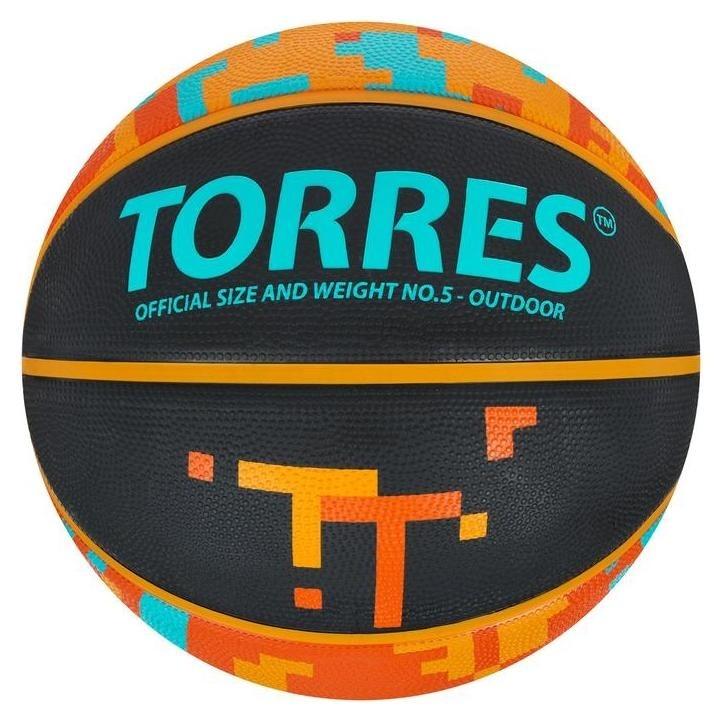 """Мяч баск. """"Torres TT"""" арт. B02125, р.5, резина, нейлон. корд, бут. кам., черный-мультиколор  Torres"""