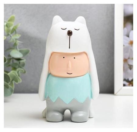 Сувенир полистоун Малыш в шапке белого медведя 15х8,5х8,5 см NNB