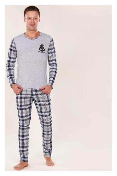 Комплект мужской (Лонгслив, брюки), цвет серый/голубой, размер 52  Руся