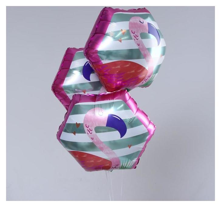 """Шар фольгированный многоугольник 20""""""""фламинго"""" набор 3шт.  NNB"""
