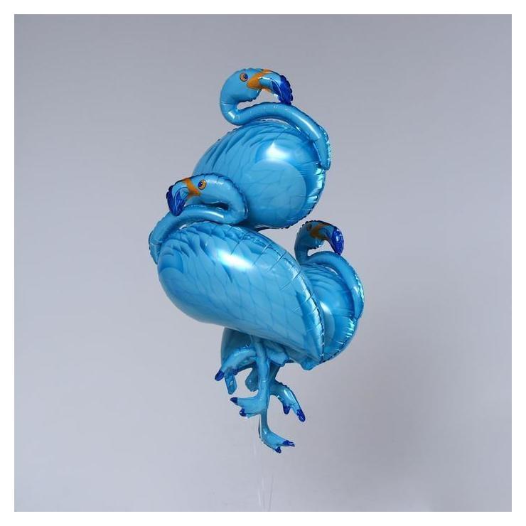 "Шар фольгированный 42""""фламинго"", цвет голубой набор 3шт.  NNB"