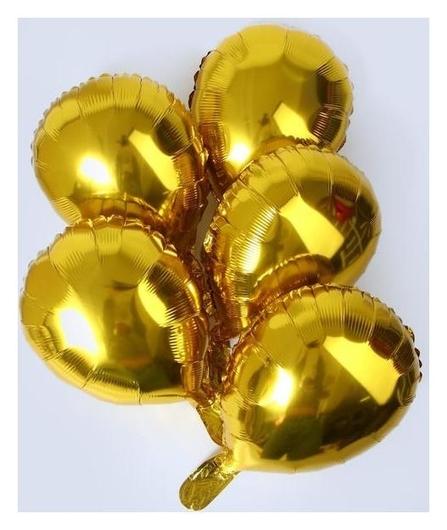 """Шар фольгированный 13""""""""овал золото"""", для палочки набор 5шт.  NNB"""