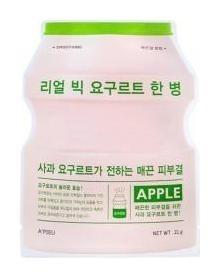 Тканевая маска для питания и восстановления кожи лица с экстрактом яблока Йогуртовая Real Big Yogurt One-Bottle Apple A'Pieu