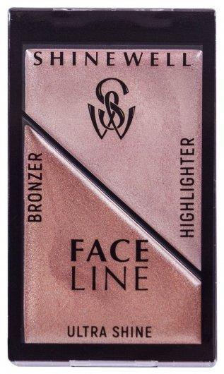 Набор для макияжа моделирующий Хайлайтер + бронзер  Shinewell