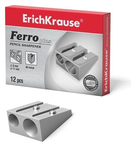 Точилка металлическая 2 отверстия Erich Krause Ferro Plus, алюминий, отверстия диаметром 8 мм и 11 мм