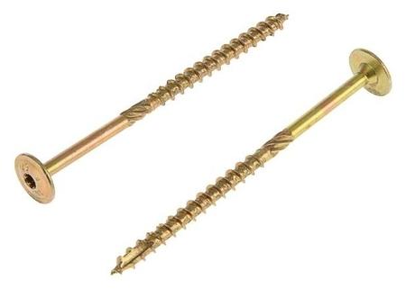 Саморез конструкционный Infix, 8х140 мм, тарельчатый, Torx40, жёлтый цинк  Infix