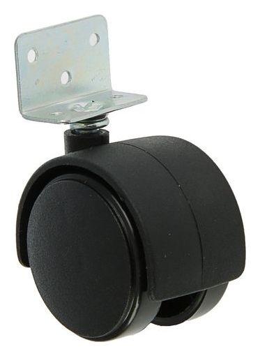 Колесо мебельное, D=50 мм, г-образное, с креплением, без тормоза, черный пластик  NNB