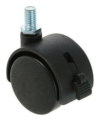 Колесо мебельное, D=40 мм, с футоркой, с тормозом, черный пластик NNB
