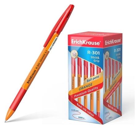 Ручка шариковая Erich Krause R-301 Orange Stick & Grip, узел 0.7 мм, чернила красные, резиновый упор, длина линии письма 1000 метров  Erich krause