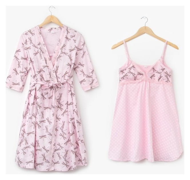 Комплект для беременных и кормящих (Сорочка, халат) цвет розовый, принт размер 46  Modellini