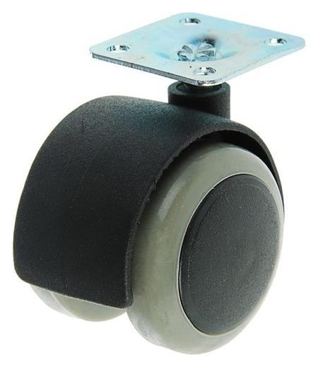 Колесо мебельное, D=50 мм, на площадке, C мягким ходом, без тормоза, серое  NNB