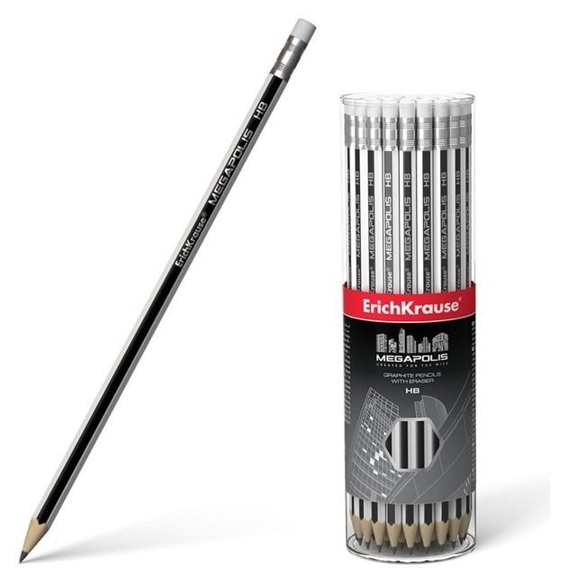 Карандаш чернографитный с ластиком Erich Krause Megapolis HB, грифель D 2.2 мм, шестигранный, из отборной древесины, в тубусе  Erich krause