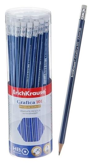 Карандаш чернографитный с ластиком Erich Krause Grafica 101 HB, шестигранный, сплошная проклейка грифеля, грифель диаметром 2.2 мм, в тубусе Erich krause
